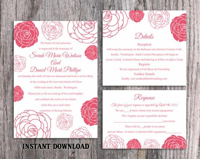 wedding photo - Wedding Invitation Template Download Printable Wedding Invitation Editable Hot Pink Invitations Floral Invitation Rose Wedding Invitation - $15.90 USD