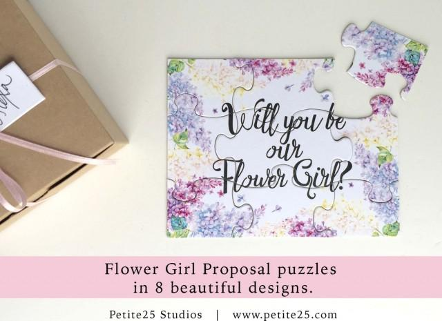 Will You Be my Flower Girl, puzzle, bridal party proposal, our flower girl card, flower girl invitation, watercolor flowers, purple lilac,