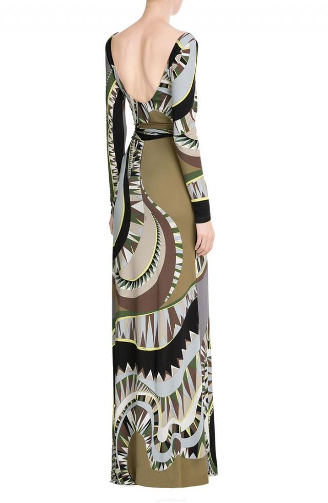 wedding photo - Emilio Pucci Black & Khaki Printed Maxi Dress With Scarf