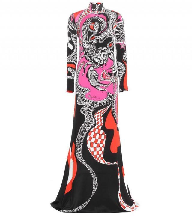 wedding photo - Emilio Pucci Scorpio Multi Color Printed Silk Maxi Dress