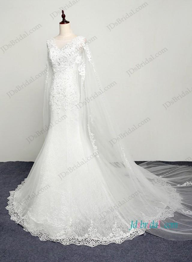 wedding photo - H1206 Romance watteau train lace mermaid wedding dress