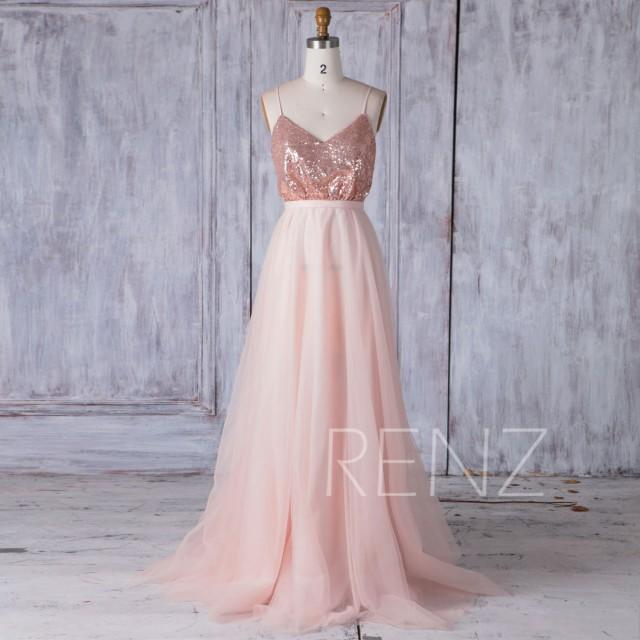 2017 Rose Gold Sequin Bridesmaid Dress, A Line Mesh Wedding Dress, V Neck Spaghetti Straps Ball Gown, Sexy Backless Prom Dress Full (HQ400)