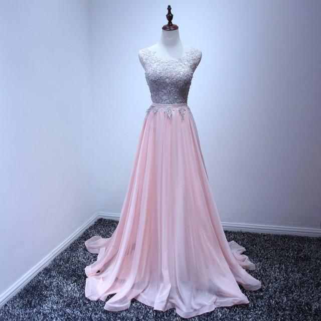 Nude Pink Long Bride Bridesmaid Dresses 2017Custom Made Lace Preal Beaded Girls'Prom Evening Party Dresses Charming Sleeveless Chiffon Dress
