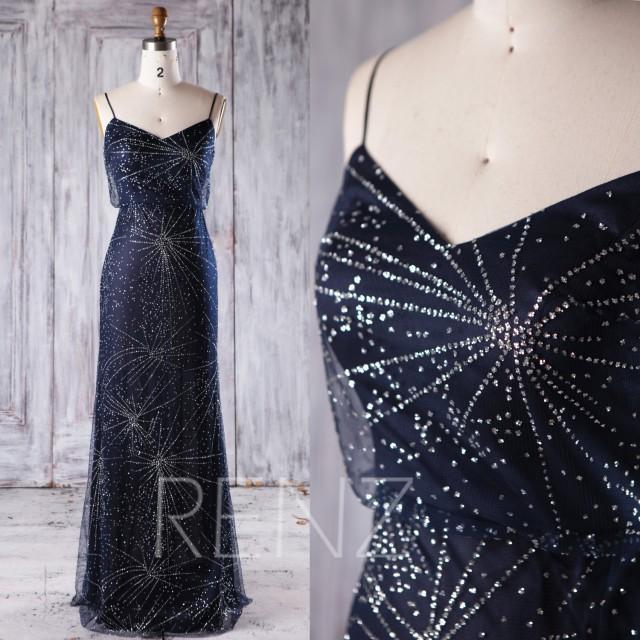 2017 Navy Bridesmaid Dress, Silver Sequin Wedding Dress, Spaghetti Straps Prom Dress, Long Maxi Dress, Evening Gown Floor Length (JQ186)