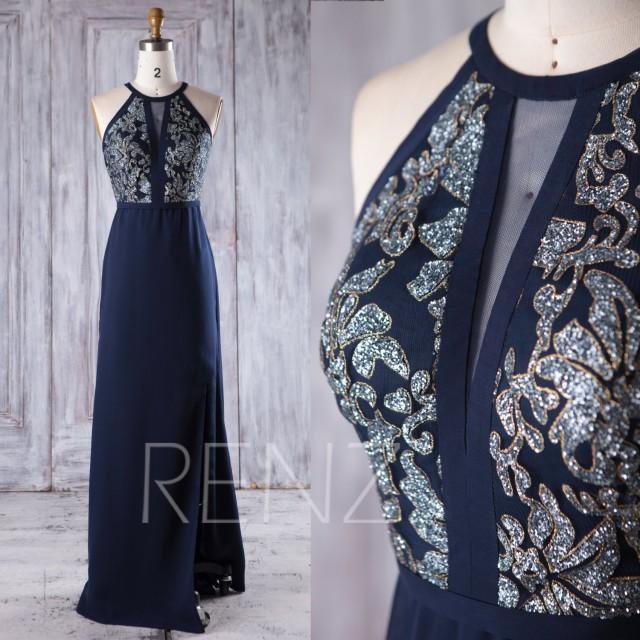 2017 Navy Chiffon Bridesmaid Dress with Sequin, High Neck Wedding Dress Slit, Hollow V Neck Prom Dress, Evening Gown MOB Dress (JQ188)