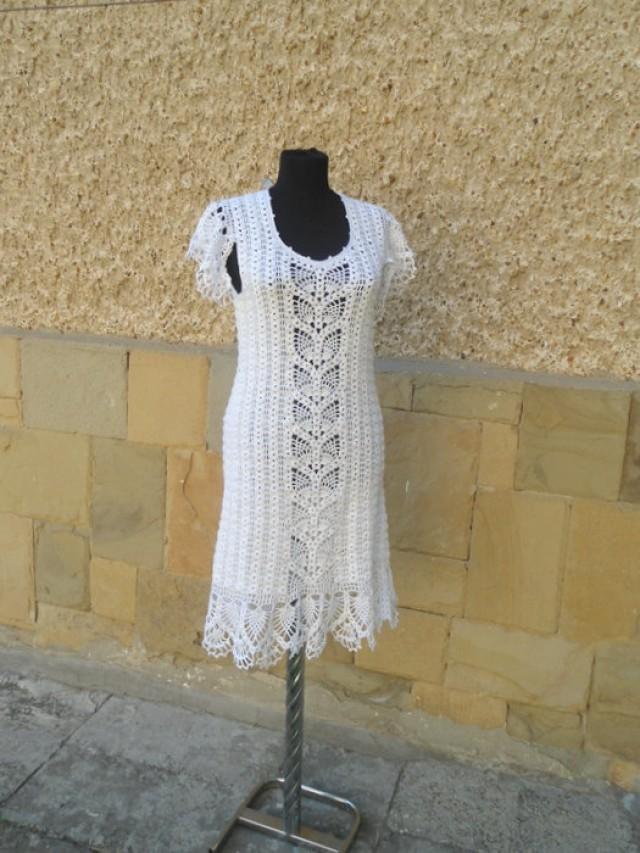 Women Crochet Dress, Alternative Wedding Dress,  Bohemian Clothing, Bridal Crochet Dress, Wedding Dress, Women Fashion Dress, White Wedding