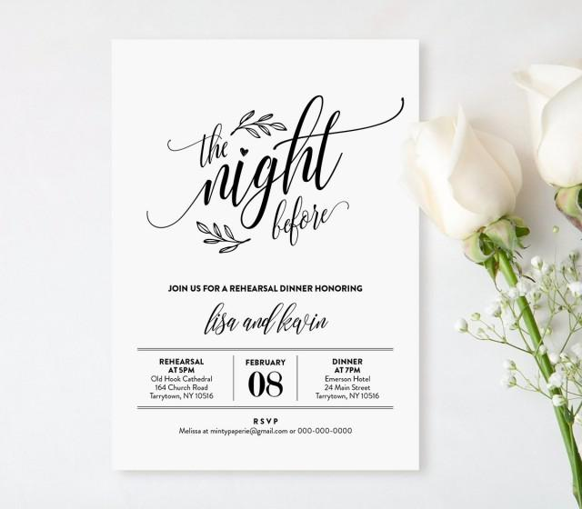 Wedding Rehearsal Dinner Printable, DIY Rehearsal Invitation Template, Night Before, Instant Download, Editable Text, PDF, Digital #107RD