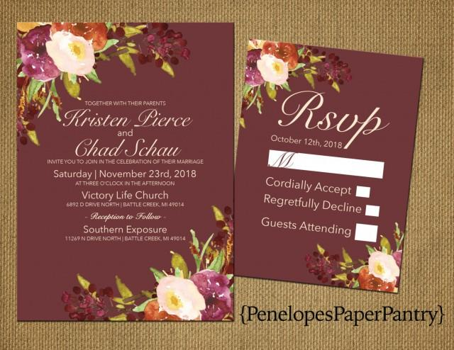 Elegant Rustic Fall Wedding Invitation,Marsala,Plum and Ivory,Fall Wildflowers,Traditional,Simple,Opt RSVP,Customizable with White Envelope