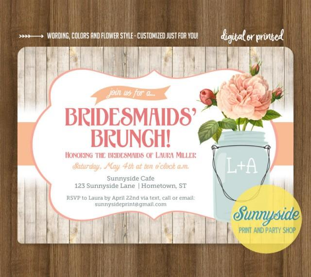 Bridesmaids Brunch invitation // rustic mason jar brunch luncheon shower invite // printable or printed invitations // you choose flower