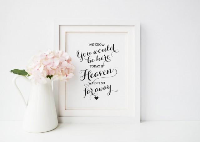 We know you would be here today if Heaven wasn't so far away Sign, In Loving Memory, Wedding Memorial Candle Sign, Printable Wedding Sign