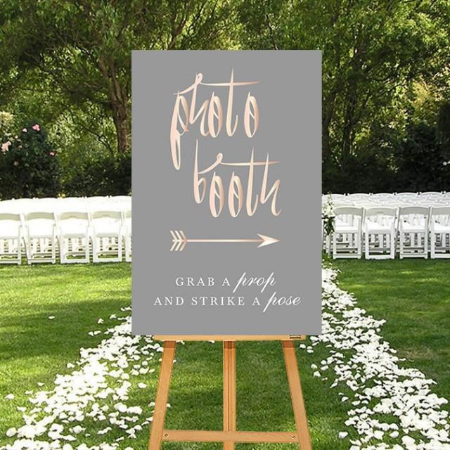 Photo Booth Sign, Rosegold DIGITAL Sign, Calligraphy Wedding, Pink Grey, Blush Grey, Printable Sign, Photo Photobooth, PRINTABLE