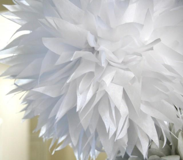 White tissue paper pom .. nursery decoration / baptism / wedding decor