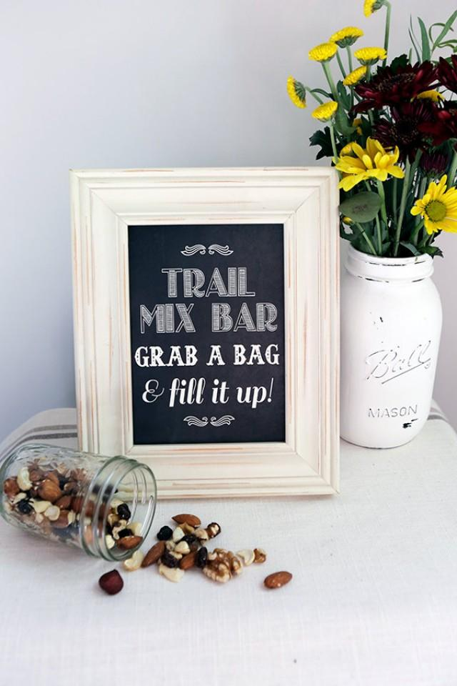 8x10 Instant Download - Trail Mix Bar - Wedding Favor - Candy Bar - Printable Vintage Chic Chalkboard File