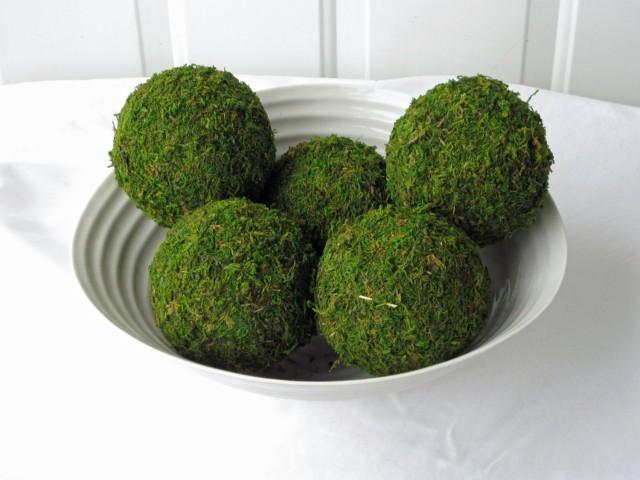 Moss Pomander Balls, Set of 5,  3 inch Moss Balls for Home or Wedding Decor