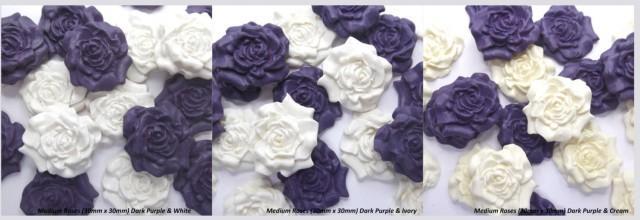 12 Dark Purple & White / Ivory / Cream Sugar Roses edible fondant wedding cake decorations anniversary cupcake toppers 30mm 3 OPTIONS