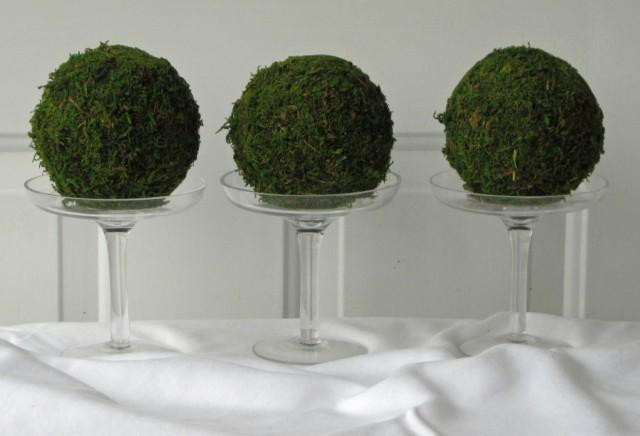 Moss Pomander Balls, Set of 3,  4 inch Moss Balls for Home or Wedding Decor