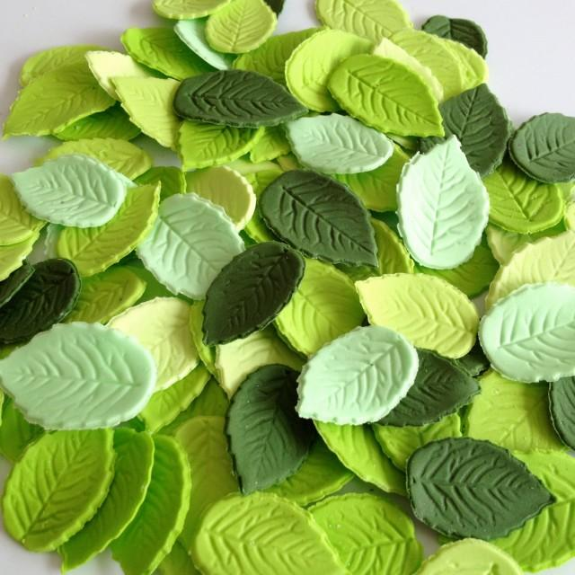 24 MIXED GREEN LEAVES edible sugar paste flowers cake decorations