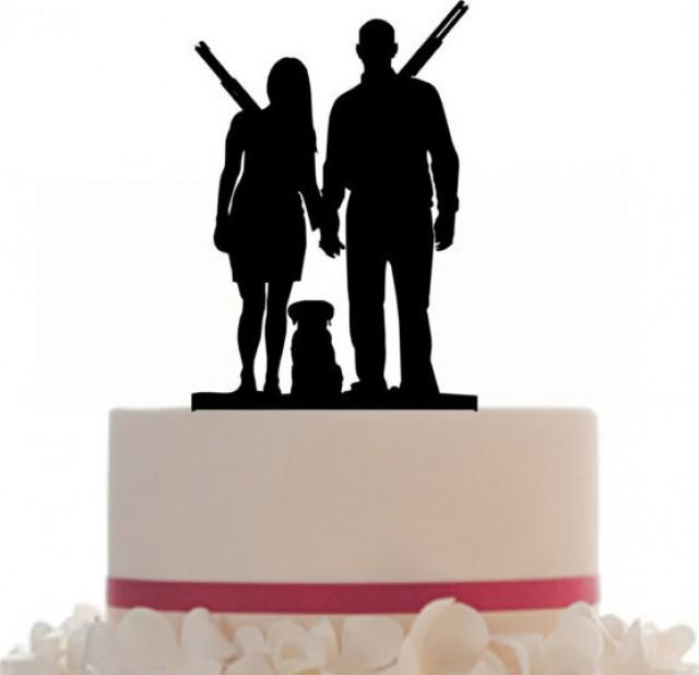 Wedding Cake Topper  Groom and Bride Gun Lovers Removable Spikes and Free Base For after event display