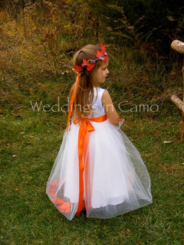 FALL Flower Girl Dress with LEAVES and tulle skirt