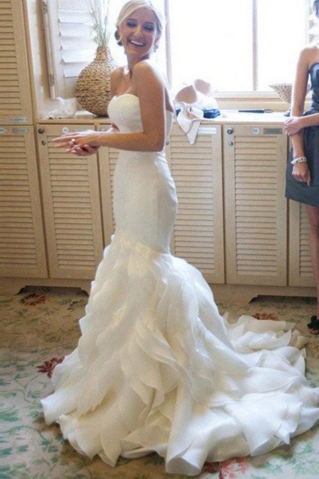 2017 Long Custom Wedding Gowns,Organza Mermaid Wedding Dresses,Cheap Bridal Dresses,SVD525
