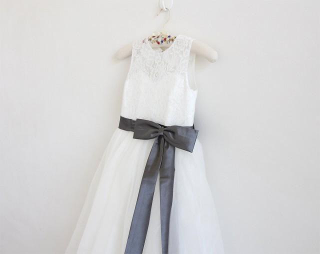 Ivory Flower Girl Dress Dark Grey Baby Girls Dress Lace Tulle Flower Girl Dress With Dark Grey Sash/Bows Sleeveless Knee-length