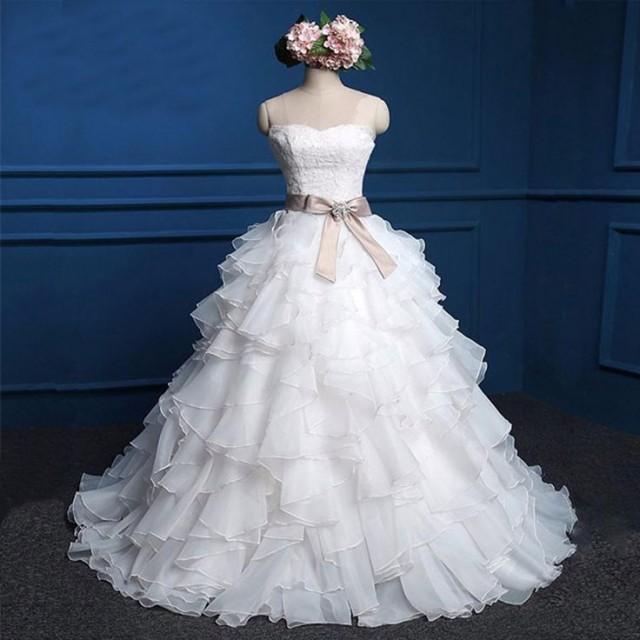 Sweetheart Lace Top Cute Bridal Gown, Cheap Popular Chiffon Wedding Dress, WD0027