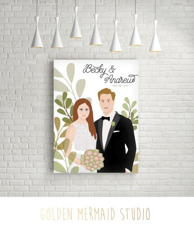 Custom Couple Illustration - Wedding or Anniversary Sign - Wedding Gift for Couple - PRINTED sign or Printable PDF - Reception Welcome Sign