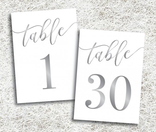 Printable Silver Table Numbers 1 - 30