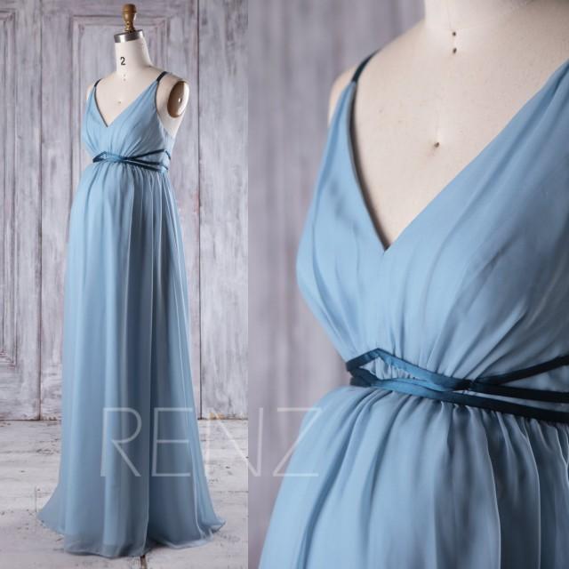 2017 Dusty Blue Chiffon Maternity Bridesmaid Dress Emprie Waist, V Neck Wedding Dress with Belt, Long Prom Dress Floor Length (LM257)