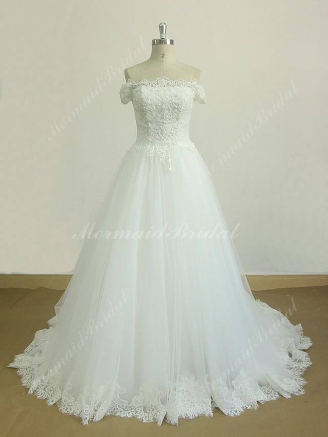 Ivory off the shoulder a line lace wedding dress with chapel train