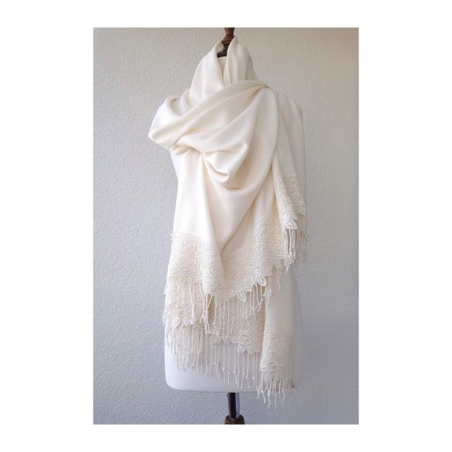 wedding photo - Ivory Wedding Shawl, White Bridal Shawl, Brides Shrug, bridal scarf, Bridesmaid Gift, best seller - $35.00 USD