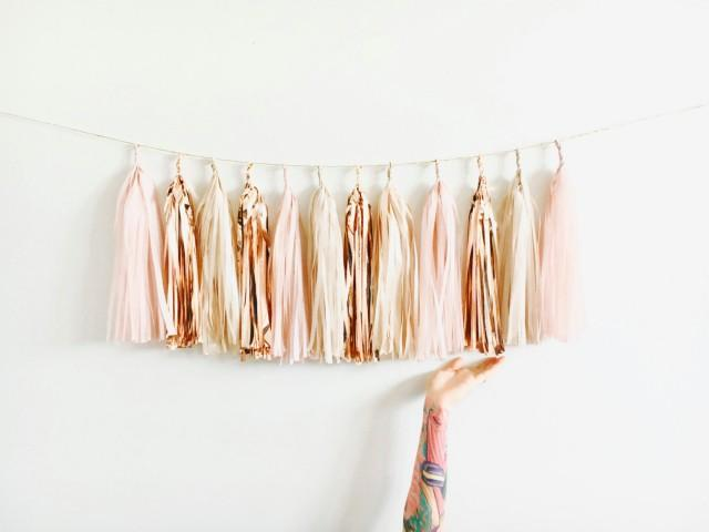 Blush rose gold and champagne shimmer tassel garland baby shower decorations blush wedding - Rosegold dekoration ...
