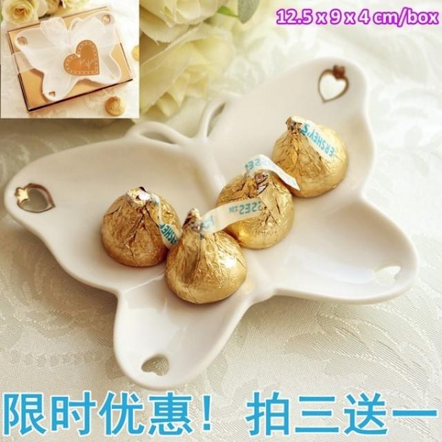 wedding photo - Beter Gifts®蝶戀花糖果盤回禮 喜糖盤子 結婚用品 婚慶用品婚禮小禮物 BETER-TC017