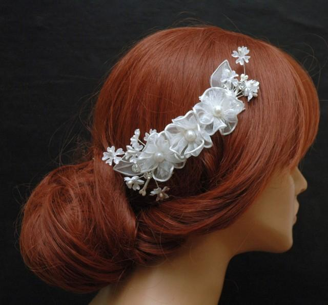 wedding photo - White Silk Flower Hair Comb, Wedding Hair Comb, Floral Bridal Comb, Wedding Hair Accessories, Pearl Hair Comb, Crystal Headpiece - $35.00 USD