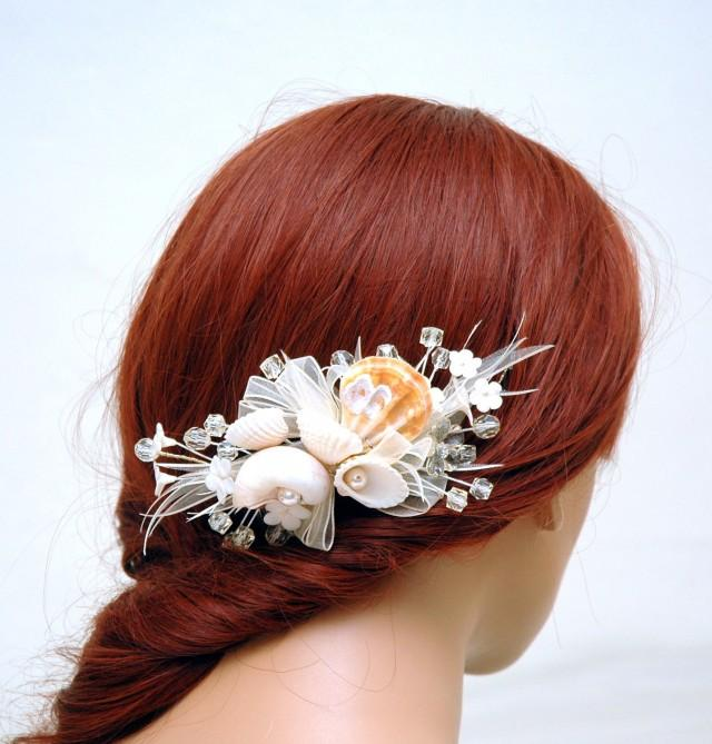 wedding photo - Sea Shell Hair Comb, Beach Wedding Hair Accessories, Pearl Comb, Beach Headpiece, Boho Wedding Mermaid Nautical Beach Hair Comb - $39.00 USD