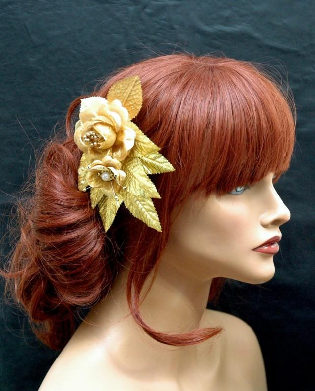 wedding photo - Gold Flower and Leaf Hair Comb, Gold Flower Hair Comb, Wedding Hair Accessories, Grecian Gold Headpiece, Bohemian Rustic Wedding - $28.00 USD