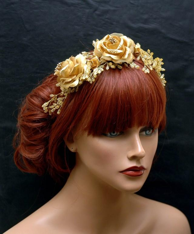 wedding photo - Rustic Gold Bohemian Hair Vine, Flower Gold Tiara, Bridal Flower Crown Headband, Gold Headpiece, Wedding Hair Accessory, OOAK, Beach Wedding - $75.00 USD