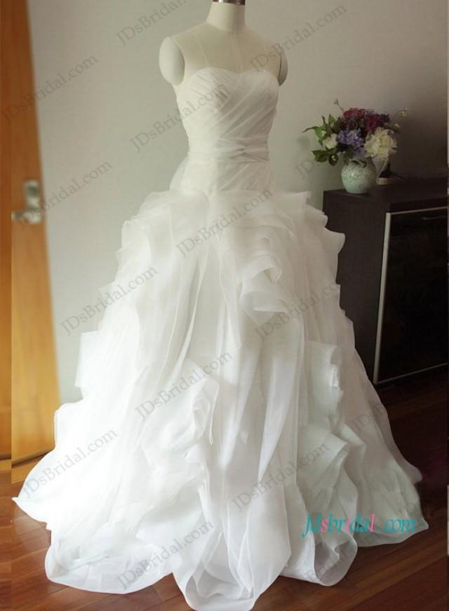 wedding photo - H1205 Gorgeous draped organza ball gown wedding dress