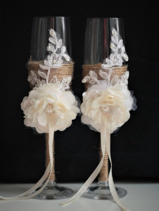 wedding photo - Rustic Wedding Glasses  Rustic Champagne Glasses  Rustic Toasting Flutes  Champagne Glasses  Burlap Wedding Flutes, Lace Wedding Glasses - $42.00 USD