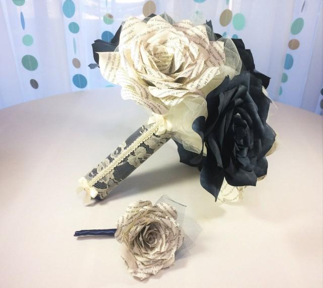 wedding photo - Beautiful navy blue wedding bouquet using book page roses with matching boutonniere option and three sizes to choose from