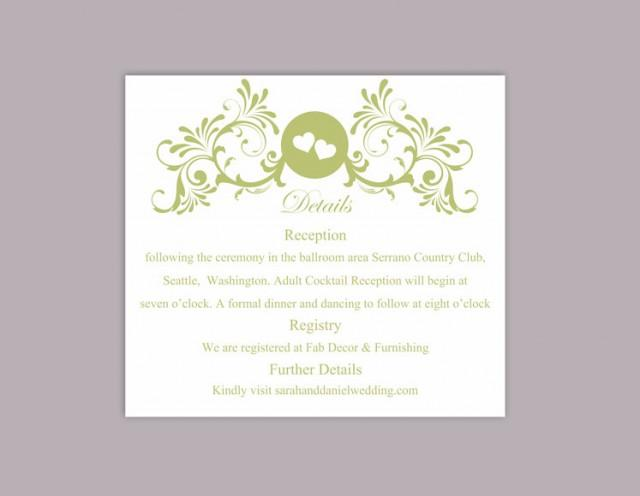 wedding photo - DIY Wedding Details Card Template Download Printable Wedding Details Card Editable Green Details Card Elegant Heart Information Cards Party - $6.90 USD