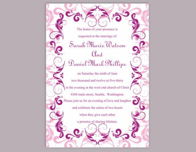 wedding photo - Wedding Invitation Template Download Printable Wedding Invitation Editable Pink Invitations Elegant Invitation Purple Wedding Invitation DIY - $6.90 USD
