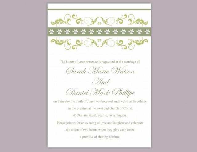 wedding photo - Wedding Invitation Template Download Printable Wedding Invitation Editable Invitation Green Invitation Elegant Floral Wedding Invitation DIY - $6.90 USD