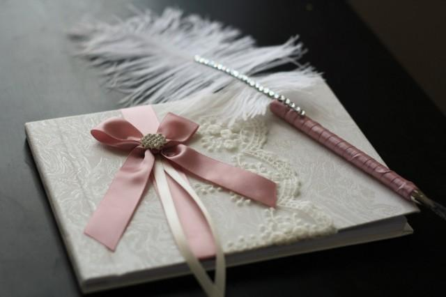 wedding photo - Wedding Guest Book   ostrich feather Pen Dusty rose color  Ring Bearer Pillow  Bridal Garter Set  Unity candles Set  Mauve Sign in Book - $28.00 USD