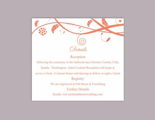 wedding photo - DIY Wedding Details Card Template Download Printable Wedding Details Card Orange Detail Card Elegant Information Card Editable Party Cards - $6.90 USD