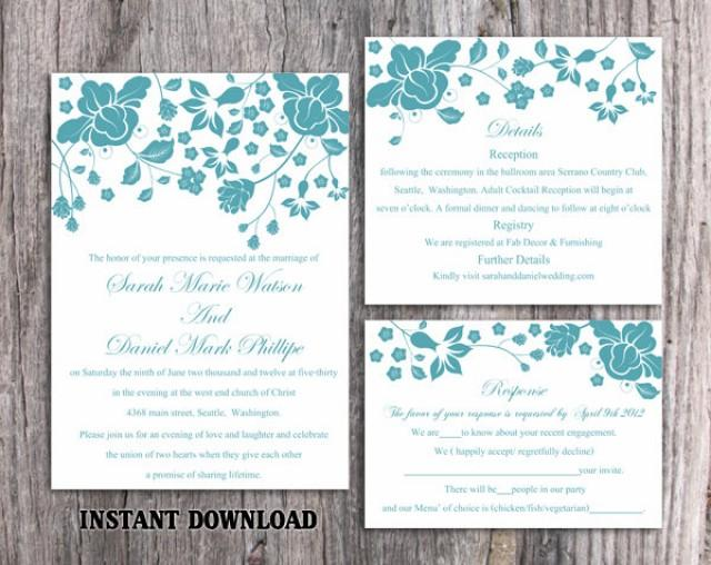 wedding photo - Wedding Invitation Template Download Printable Invitations Editable Floral Boho Wedding Invitation Teal Invitation Blue Invitations DIY - $15.90 USD