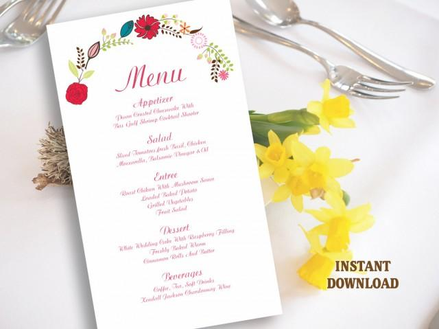 wedding photo - Wedding Menu Template DIY Menu Card Template Editable Text Word File Instant Download Wreath Menu Floral Menu Printable Menu 4x7inch - $6.90 USD