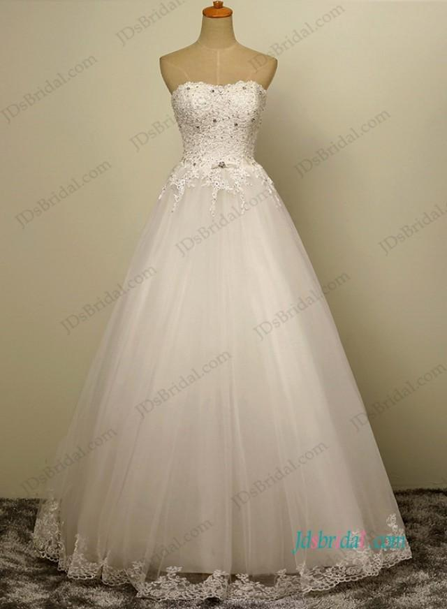 wedding photo - H1201 simple tulle a line wedding dress with beaded lace details