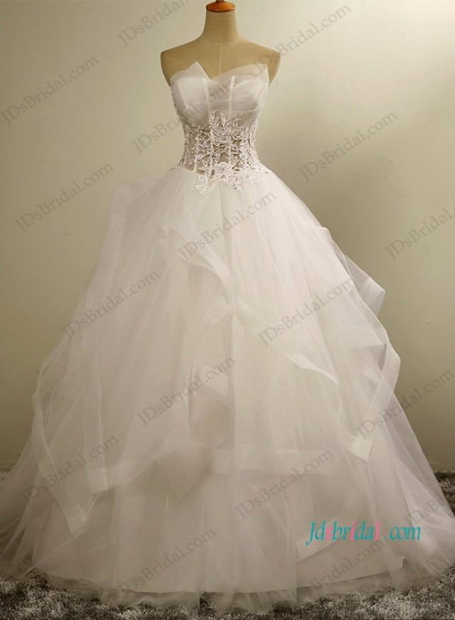 wedding photo - H1202 Sexy see through bodice tulle ball gown wedding dress