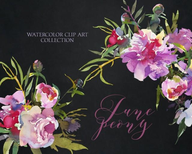 wedding photo - Watercolor Pink Peonies Clipart Floral Bouquets Wreaths Purple Flowers Clip Art Set Floral Sprays Wedding Invitation Transparent Background - $6.50 USD